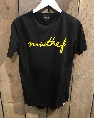 T-SHIRT MUSTHEF ZWART/GEEL