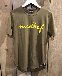 T-SHIRT MUSTHEF GROEN/GEEL