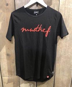 T-SHIRT MUSTHEF ZWART/ROOD