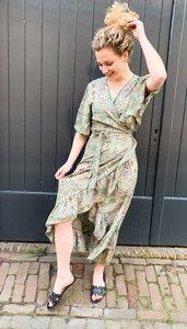 Bohemian Dress Ruffle Green